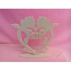 6mm MDF Standing MUM Rose heart